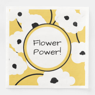 CHIC PAPER PARTY NAPKIN_MOD YELLOW & BLACK POPPIES DISPOSABLE NAPKINS