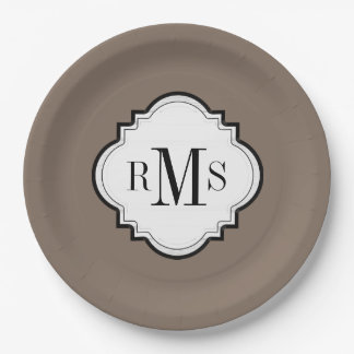 CHIC PAPER PLATE_502 SOFT BROWN/WHITE PAPER PLATE