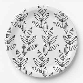 CHIC PAPER PLATE_BLACK/WHITE FLORAL VINES 9 INCH PAPER PLATE