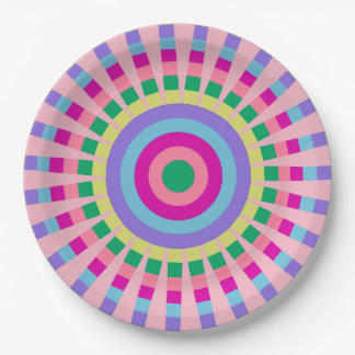 CHIC PAPER PLATE_COOL SUNBURST PASTEL PATTERN PAPER PLATE