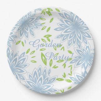 CHIC PAPER PLATE_GARDEN PARTY!_21 BLUE FLORAL PAPER PLATE