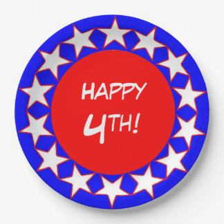 CHIC PAPER PLATE_HAPPY 4TH! RED/WHITE/BLUE 9 INCH PAPER PLATE