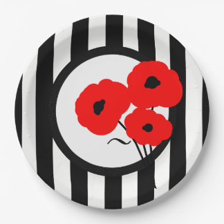 CHIC PAPER PLATE_MOD 01 RED POPPIES ON STRIPES PAPER PLATE