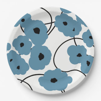 CHIC PAPER PLATE_MOD BLUE AND BLACK POPPIES PAPER PLATE