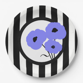 CHIC PAPER PLATE_MOD PERIWINKLE POPPIES ON STRIPES PAPER PLATE