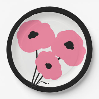 CHIC PAPER PLATE_MOD PINK POPPIES PAPER PLATE