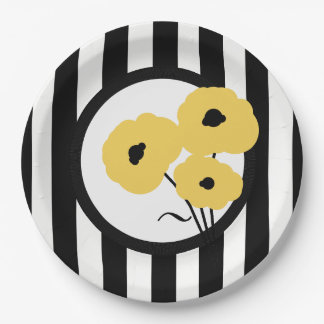 CHIC PAPER PLATE_MOD YELLOW POPPIES ON STRIPES PAPER PLATE