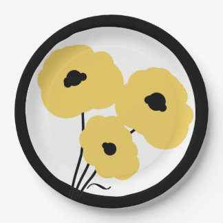 CHIC PAPER PLATE_MOD YELLOW POPPIES PAPER PLATE