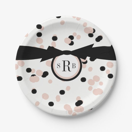CHIC PAPER PLATE_MODERN DOTS_BLACK/PALE DOGWOOD 7 INCH PAPER PLATE