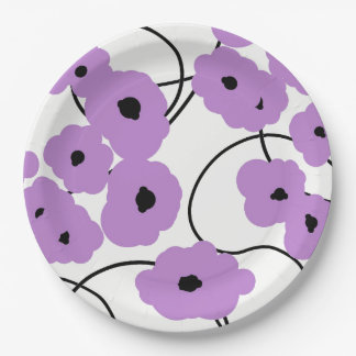 CHIC PAPER PLATE_MODERN LAVENDER AND BLACK POPPIES 9 INCH PAPER PLATE