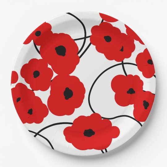 CHIC PAPER PLATE_MODERN REDPOPPIES 9 INCH PAPER PLATE