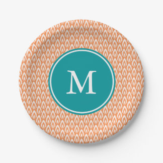 CHIC PAPER PLATE_MODERN TANGERINE/WHITE/TURQUOSIE 7 INCH PAPER PLATE