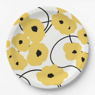CHIC PAPER PLATE_MODERN YELLOW POPPIES PAPER PLATE