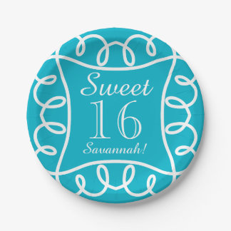 "CHIC PAPER PLATE_""Sweet 16!"" TURQUOISE/WHITE Paper Plate"