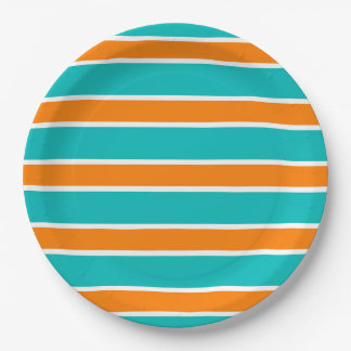 CHIC PAPER PLATE_TURQUOSIE/ORANGE STRIPES #6 PAPER PLATE