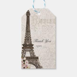 Chic Paris Eiffel Tower & Roses Elegant Favor Gift Tags