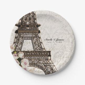 Chic Paris Eiffel Tower & Roses Elegant Party Paper Plate