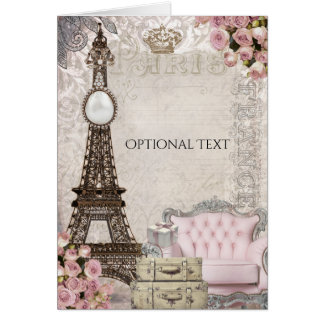 Chic Paris Eiffel Tower & Roses Elegant Thank You Card