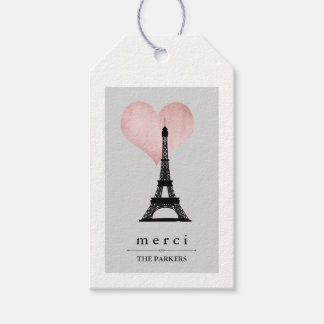 Chic Paris Eiffel Tower with Rose Gold Heart Merci Gift Tags