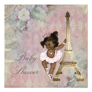 "Chic Paris Ethnic Princess Ballerina Baby Shower 5.25"" Square Invitation Card"