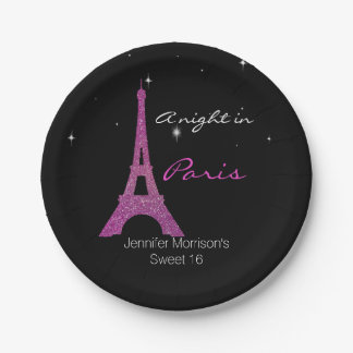 Chic Paris Themed Sweet 16 Custom Paper Plates 7 Inch Paper Plate