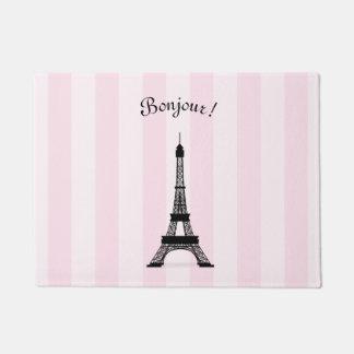 Chic Parisian Pink Stripe Black Eiffel Tower Doormat