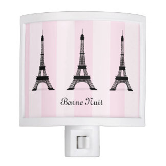 Chic Parisian Pink Stripe Black Eiffel Tower Night Lite