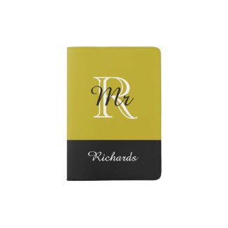 "CHIC PASSPORT HOLDER_""Mr"" BLACK/WHITE/191 GOLD Passport Holder"