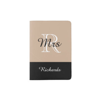 "CHIC PASSPORT HOLDER_""Mrs""BLACK/WHITE/HAZELNUT Passport Holder"