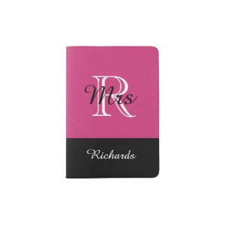"""CHIC PASSPORT HOLDER_""""Mrs""""BLACK/WHITE/PINK YARROW Passport Holder"""