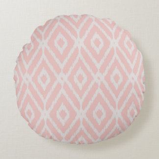Chic pastel blush pink ikat tribal diamond pattern round pillow