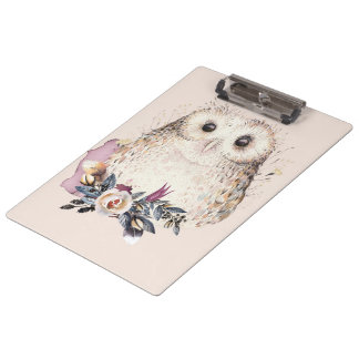 Chic Pastel Flower Owl Animal Boho Illustration Clipboard