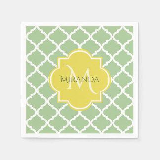 Chic Pastel Green Quatrefoil Yellow Name Monogram Paper Napkin