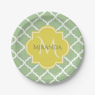 Chic Pastel Green Quatrefoil Yellow Name Monogram Paper Plate