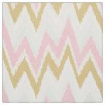 Chic pastel pink gold ikat tribal chevron pattern fabric
