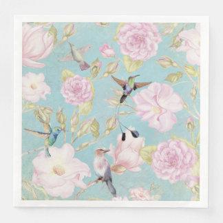 Chic Pastel Teal Vintage Roses Hummingbird Pattern Disposable Napkins