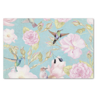 Chic Pastel Teal Vintage Roses Hummingbird Pattern Tissue Paper