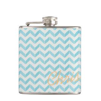 Chic Pastel turquoise Chevron Custom Monogram Hip Flask