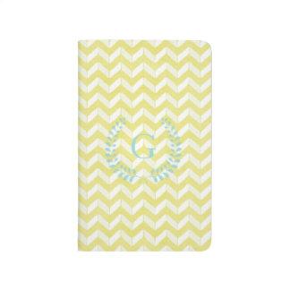 Chic Pastel Yellow Teal Chevron Custom Monogram Journal