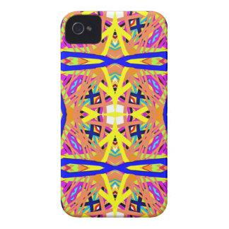 Chic Peach Blue Yellow Tribal Pattern iPhone 4 Case-Mate Case