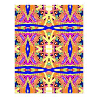 Chic Peach Blue Yellow Tribal Pattern Letterhead