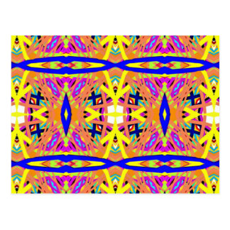 Chic Peach Blue Yellow Tribal Pattern Postcard