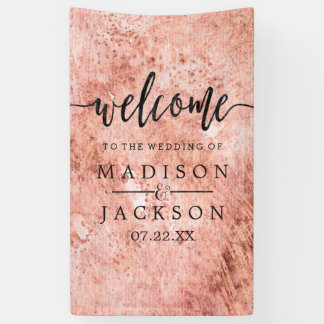 Chic Peach Marble Watercolor Wedding Welcome Banner