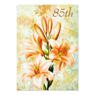 """Chic Peach & White Lilies 85th Birthday 5"""" X 7"""" Invitation Card"""