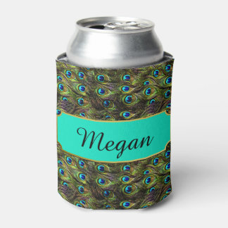 Chic Peacock Feathers Personalized Can Cooler