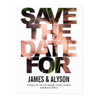 Chic Peek Save The Date Card Postcard