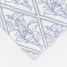 Chic Periwinkle Blue White Floral Diamond Pattern Fleece Blanket
