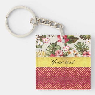 Chic Personalized Hibiscus and Chevrons Double-Sided Square Acrylic Keychain