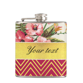 Chic Personalized Hibiscus and Chevrons Flasks