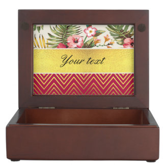 Chic Personalized Hibiscus and Chevrons Memory Box